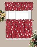 LORRAINE HOME FASHIONS Candy Cane Snowman Window Curtain Tier Pair, 60' x 24', Red