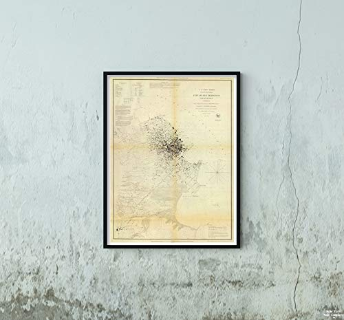 1853 Map|Chart Atlas San Francisco & Vicinity|Historic Antique Vintage Reprint|Size: 18x24|Ready to Frame ()