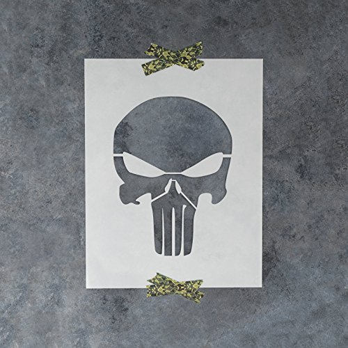 Punisher Skull Stencil Template - Reusable Stencil with Multiple Sizes Available -