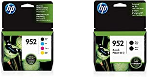 HP 952 | 4 Ink Cartridges | Black, Cyan, Magenta, Yellow | F6U15AN, L0S49AN, L0S52AN, L0S55AN & 952 | Ink Cartridge | Black | 3YP21AN