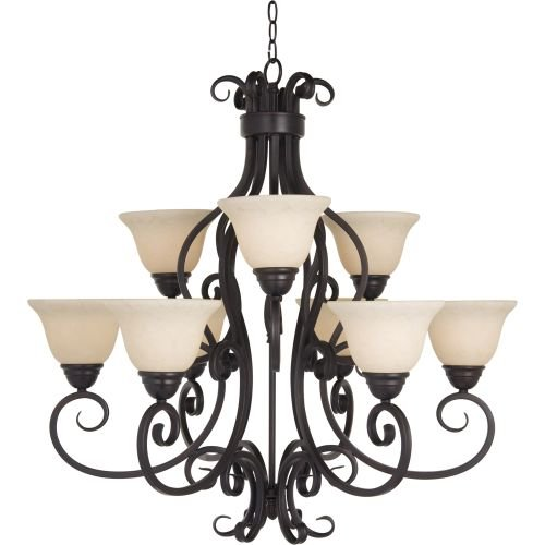 Maxim Lighting 12207FIOI Nine Light Frosted Ivory Glass Up Chandelier, Oil Rubbed Bronze - Rubbed Bronze Traditional Chandelier