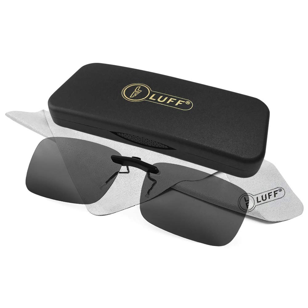 LUFF Polarized Unisex Clip on Sunglasses for Prescription Eyeglasses-Good Clip Style Sunglasses for Myopia Glasses Outdoor/Driving/Fishing (Black) ... by LUFF
