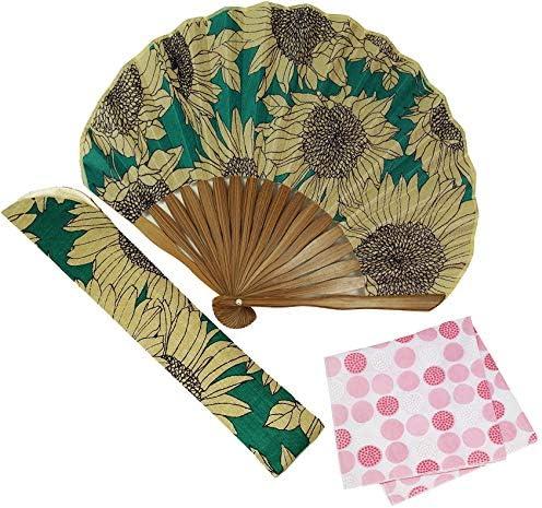 扇子 女性 ひまわり(緑) 長生堂オリジナル 扇子袋 ハンカチ無料 セット 箱入り おしゃれ ポリエステル 女性用 レディース 扇子