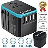 International Adapter for Travel, Ease2U Dual Voltage Hair Dryer, Straightener, Curling Iron Travel Adapter with 5 Fast USB Charger,Type-C,8A Worldwide AC Outlet Max 2000W UK US AU Asia 200+(Blue)