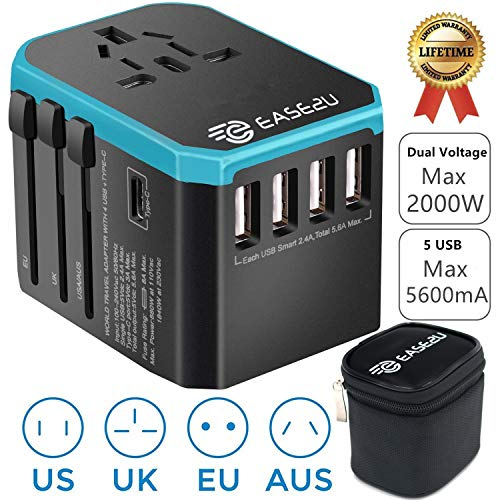 International Adapter for Travel, Dual Voltage Hair Dryer, Straightener, Curling Iron Travel Adapter with 5 Fast USB Charger,Type-C,8A Worldwide AC Outlet Max 2000W UK US AU Asia 200+ (Blue)