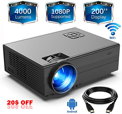 WiFi Projector(2019Newest)GIMISONIC Mini Video Projector 1080P Supported 4000Lux 200″Display LED Portable Projector, Compatible with TV Box, PS4, HDMI, VGA, Movie Projector Ideal for Indoor & Outdoor