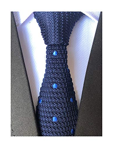 Secdtie Men's Boys Navy with Blue Dot Knitted Neck Ties Accessory Formal -