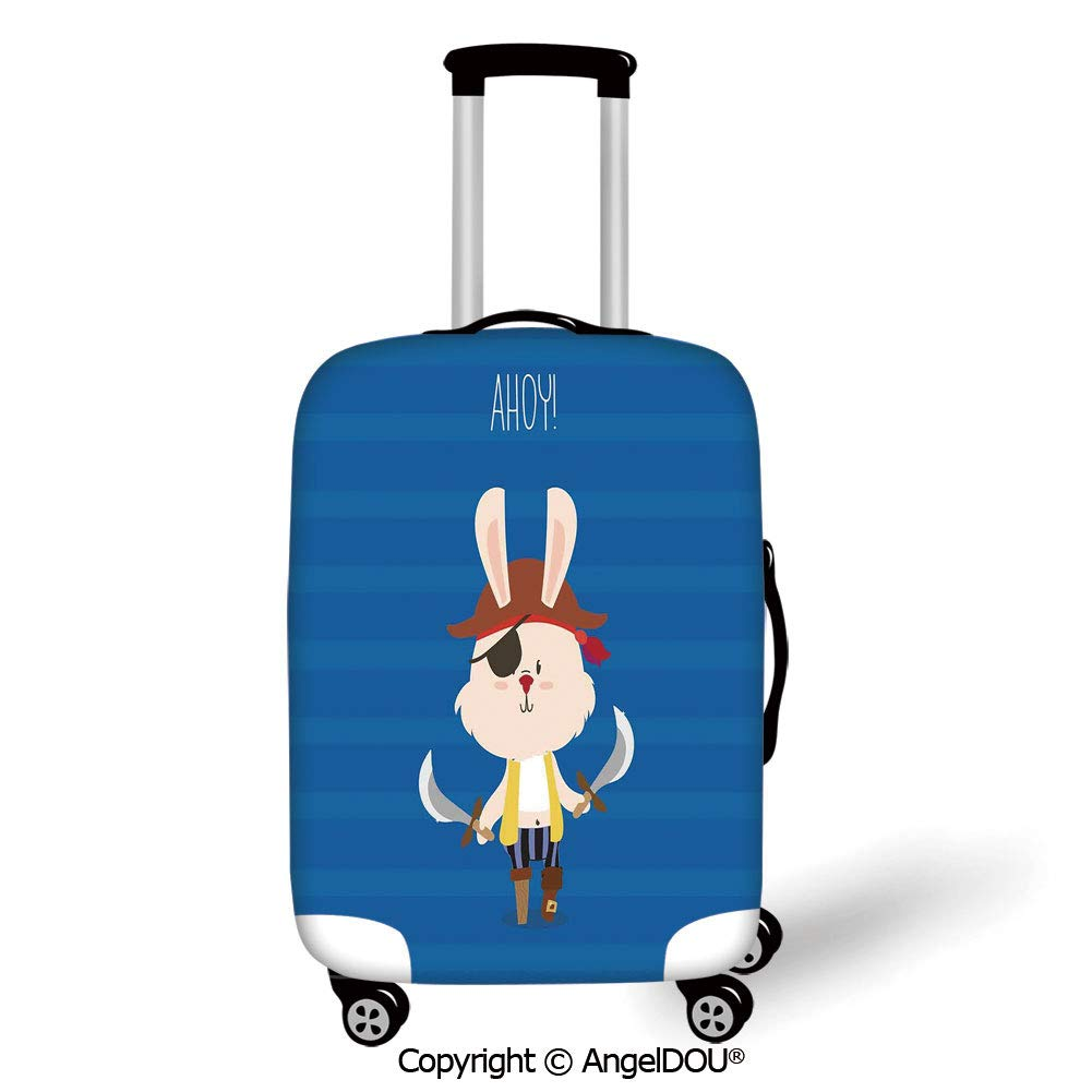 AngelDOU Travel Accessories Elastic Luggage Dust Cover Circus Decor Old Style Vintage Circus Tent with Baloons Carnival Celebration Performance Animals Artwork Multi Apply to 18-28 Suitcase.