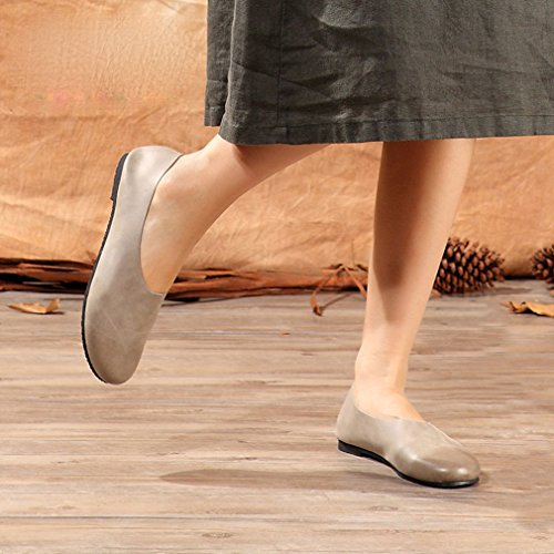 Soojun Kvinna Klassiker Modet Läder Slip-on Loafer Grå