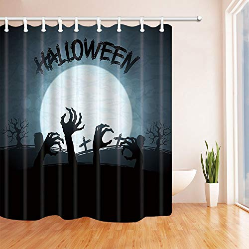 Halloween Decor Horrible Ghost Hand Silhouette in Moon Resistant Polyester Fabric Shower Curtains Bath with Rings 70.8 X 70.8 inches Blue -