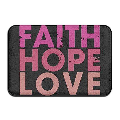 EWD8EQ Faith Love Hope Non-slip Indoor/Outdoor Door Mat Rug For Health And Wellness Toilet Bathroom Doormat 23.6''x 15.7'' by EWD8EQ