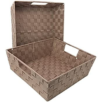 Set of 2 Woven Baskets for Storage - Fabric Strap Shelf Bin for Closets, Bedroom, Playroom (15 x 13 x 5, Taupe - Set of 2)