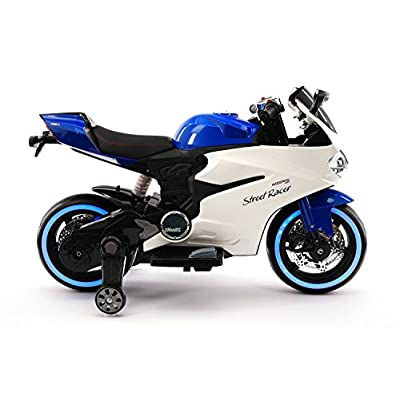 Street Racer New Ducati Motorcycles Style 12V Electric Kids Ride-ON Motorcycle | Blue: Toys & Games