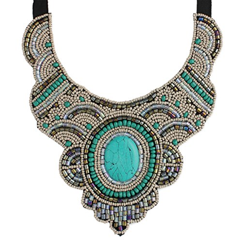Bead and Ribbon Statement Necklace - Boho ()