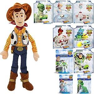 Cowboy Toy Story Adventure Character Car Bo Peep Bundled with Forky Wacky Racer + Rex Dinosaur + Ducky & Bunny Wagon + Duke Caboom Van Buzz Lightyear + Woody 18″ Plush doll & Mini Figures 10 Items