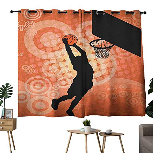 homecoco Basketball Grommet Woven Darkening Curtains Basketball Player Silhouette Athlete Competition Championship Room/Bedroom Pale Orange Black W63 x L45 ()