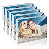 TWING Premium Acrylic Photo Frame - 5x7 inches Magnet Photo Frame -12 + 12MM Thickness Clear Picture Frame (5 Pack)