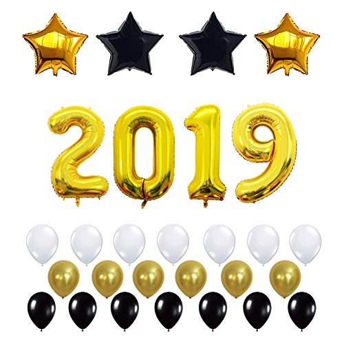 (40 Inch Gold Number 2019 balloons New Year Party Decoration Foil Balloons(28 PCS) Per)