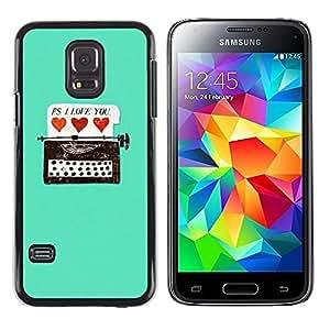 iKiki Tech / Estuche rígido - Typewriter Hipster Teal Hearts Love You - Samsung Galaxy S5 Mini, SM-G800, NOT S5 REGULAR!