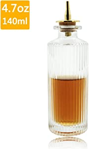 Bitters Bottle – Roman Column Bitter Bottle For Cocktail, 4.7oz / 140ml, Glass Dash Bottle With Stainless Steel Dasher Top - DSBT0014 (4.7oz/140ml)