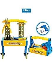 Kids Tool Set for Ages 3 and Up, 70PCS Deluxe Toy Workbench Set, Kids Construction Workshop with Full Set Plastic Preschool Bench Tools and Electric Drill