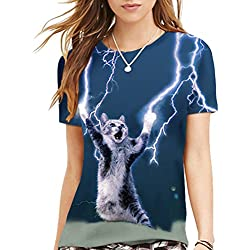 Cfanny Unisex Casual Short Sleeve T-Shirt for Couples,Lightning Cat,Medium