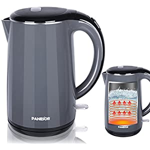 1.7L Electric Tea Kettle Cordless Stainless Steel, Hot Water Kettle Electric Double Wall Cool Touch Grey