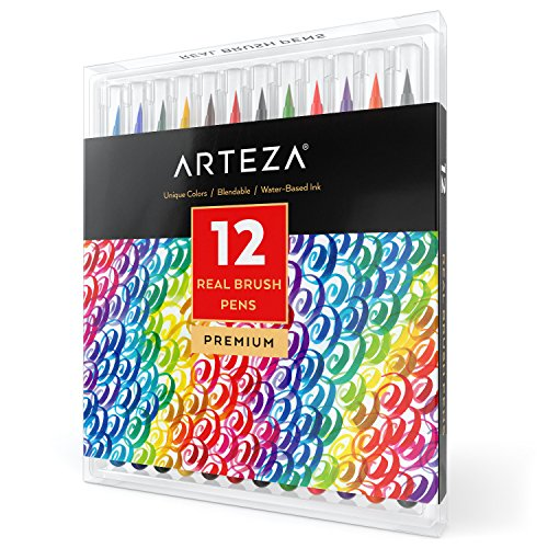 Arteza Real Brush Pens, 12 Paint Markers with Flexible Brush Tips, Professional Watercolor Pens for Painting, Drawing, Coloring & More, 100% Nontoxic, Multiple (12 Color Pen Set)