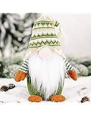 Leeko Handmade Swedish Gnome, Christmas Figurines Santa Gnome Plush Doll with Long Hat and Beard for Table Decor, Desktop Ornament, Window Display, Gift