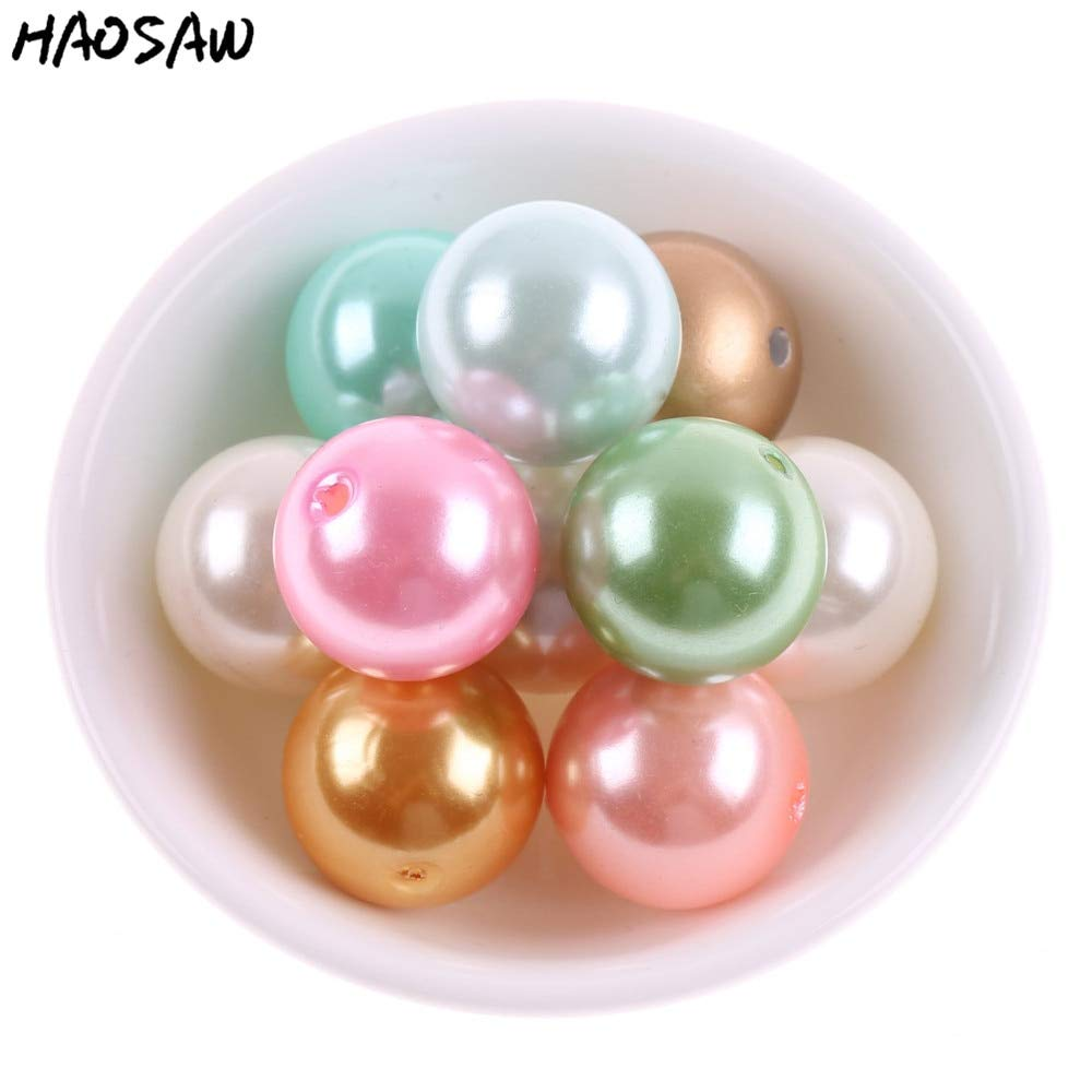 Color: A46 Middle Brown, Item Diameter: 6MM 3600PCS Calvas Fashion Fine Jewelry Accessories Choose Colors and Size 6MM-28MM Acrylic ABS Pearl Beads Chunky Beads for Handmade DIY Jewelry