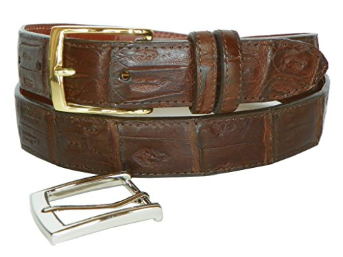 Caiman Crocodile Belt by Charles Underwood - 2 Classic Buckles, Brown, Size 44
