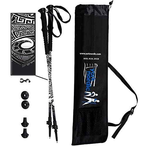 York Nordic Black Maori Tattoo Design Hiking/Walking/Trekking Poles - 2 Pack w/flip Locks, Detachable feet and Travel Bag - Nordic Grips