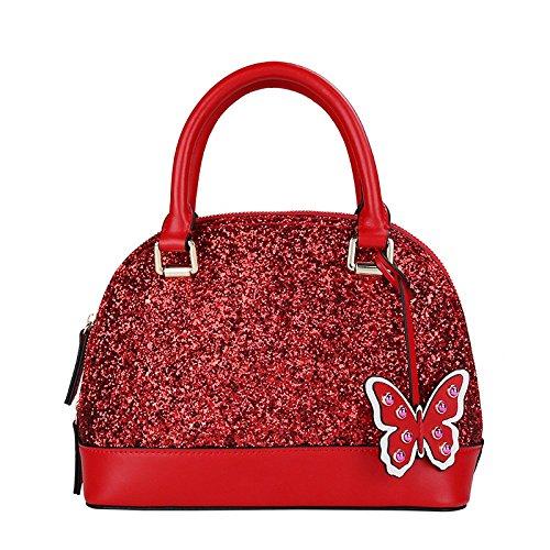 Red Femmes Sac Paillettes Bandoulière Mode à des WKNBEU Cuir Voyage à Papillon en Diagonale Mignon Main Shopping Sacs CpUwxT5