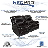 RecPro Charles 67 Double RV Zero Wall Hugger Recliner Sofa w/ Console (Espresso)