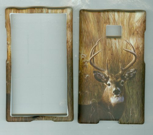 LG OPTIMUS LOGIC L35G L3 E400 DYNAMIC L38C Net 10 Straight Talk phone snap on hard rubberized case cover faceplate protector CAMOUFLAGE HUNTER BUCK DEER (Lg Optimus Logic Phones compare prices)