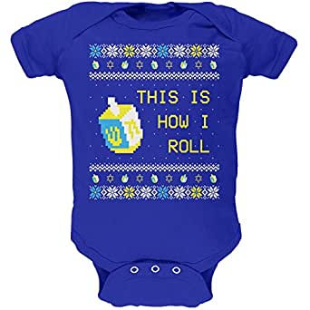Hanukkah This is How I Roll Dreidel Ugly Christmas Sweater Soft Baby One Piece Royal 0-3 M