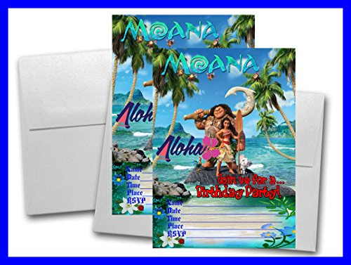 12 MOANA Birthday Invitation Cards White Envelops Included 1