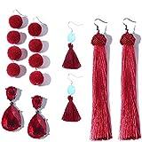 Othink Burgundy Tassel Drop Earrings for Women