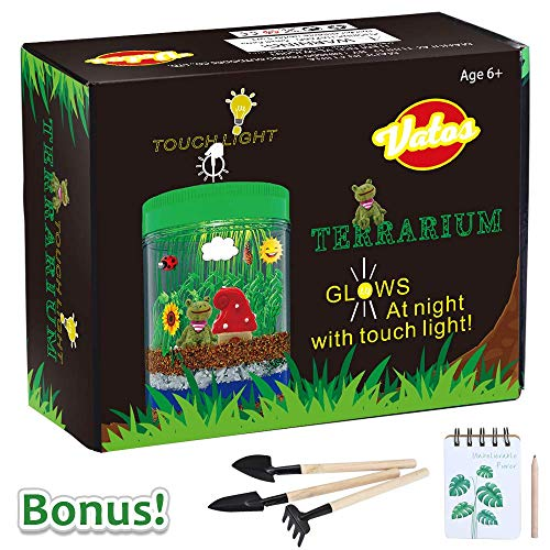 VATOS Terrarium Kit for Kids Light-up Kits with LED Grow Light, Growing Kits in a Jar for Kids Boys & Girls Gifts for Ages 3 -12 | STEM Science Toys Planting Ecosystem Kits, Kids Educational Toys (Terrarium Plant Lights)