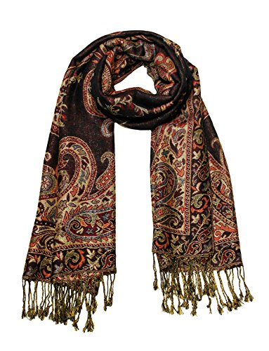 Scarf Tied Fashion (Paisley Jacquard Scarf Women's Fashion Shawl Long Soft Accent Wrap In Black/Gold)