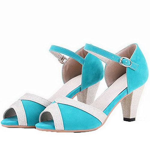 Women's Open Toe Assorted CA18LA03482 Acidblue WeenFashion Imitated Color Suede Sandals OHn4wxdXpq