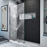 glass shower walls DreamLine D3234721M11-08 Platinum Linea Surf 34 in. W x 72 in. H Single Panel Frameless Shower Screen in Polished Stainless Steel