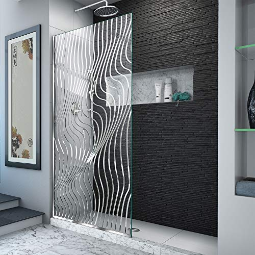 (DreamLine D3234721M11-08 Platinum Linea Surf 34 in. W x 72 in. H Single Panel Frameless Shower Screen in Polished Stainless)