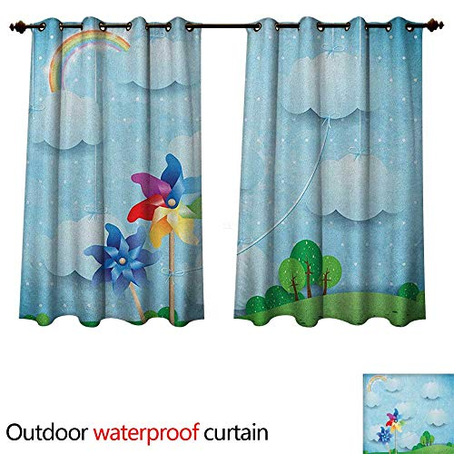 Estrella Outdoor Hanging (Anshesix Pinwheel Outdoor Curtains for Patio Sheer Surreal View with Hanging Cloud Sky Rainbow Idyllic Meadow Fantasy World Landscape W96 x L72(245cm x 183cm))