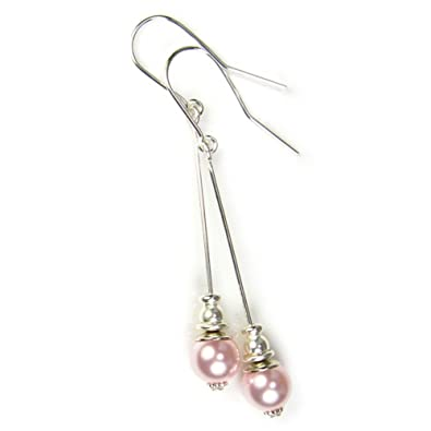 Black Moon® Pale Pink Short Drop Pearl Earrings made with Swarovski Pearls and Sterling Silver Ear Wires® C4tucjZlnn
