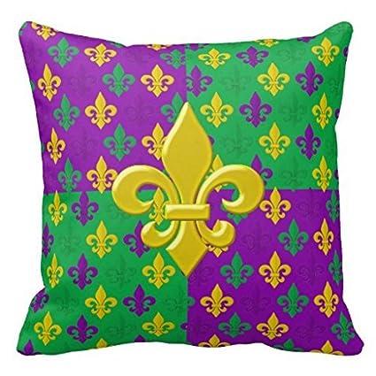 Amazoncom Mardi Gras Green Gold And Purple Fleur De Lis Pillow