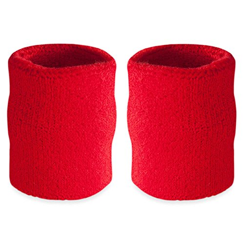 Wristband Red Baseball (Suddora 4' Inch Sport Arm Sweatbands - Athletic Cotton Armbands Pair (Red))