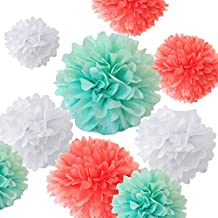 Fonder Mols 12pcs Mixed Sizes 8'' 10'' 12'' 14'' Premium Tissue Paper Pom-poms Flower Ball Wedding Party Outdoor Decoration - Coral, Mint Green & White