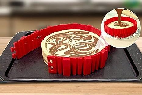 Molde para tartas de silicona de Maxus 4 piezas, molde para hacer tartas en casa, flexible, antiadherente y desmontable para realizar tartas caseras, ...