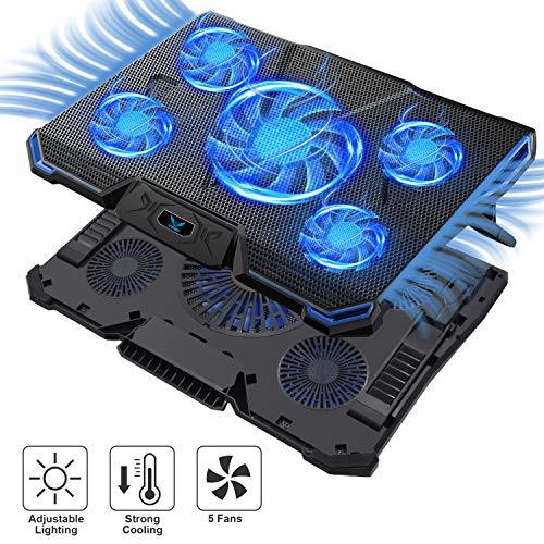 Wsky Laptop Cooler, Ultra Slim 12''-18'' inch Laptop Cooling Pad with 5 Quiet Fans and Blue LED Light, Dual 2 USB 2.0 Ports, Adjustable Mount Stand Height Angle ()